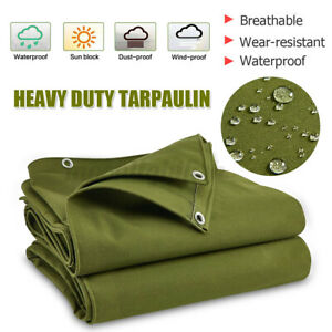 UK Green Canvas Heavy Duty Tarpaulin Cover Boat Log Store Roofing