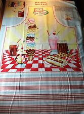 """At The Diner Apron Cotton Fabric Panel 29"""" Ice Cream 1950s Fast Food Hot Dog"""