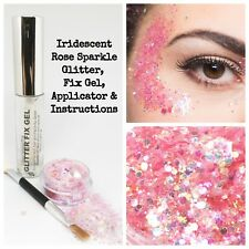 Cosmetic Chunky Rose Glitter Eyes Skin Hair Eyes Makeup festival kit + Fix Gel