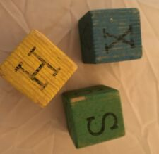 Antique Lot 3 Vintage CoLorFuL Wood Blocks - Letters, Numbers, Characters