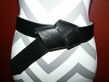 Womens Express Faux Leather Black Belt ~ Knot in Front Style ~ Size M