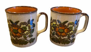 Retro Coffee Mugs Vintage Floral Ceramic 1970s Style Set Of 2