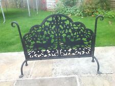 Antique arts and crafts firescreen wrought iron & Rivits Pierced work 2 stags