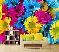 3D Pink yellow blue flower Wall Paper Wall Print Decal Wall Aj Wallpaper Ca