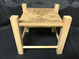"""Handmade Small Stool Foot Rest Cane Woven Seat Wood 9.5"""" Square"""