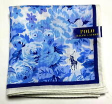 POLO Ralph Lauren Handkerchief hanky scarf bandana Blue White Flower Auth New
