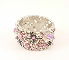 Silver Pink Violet Daisy Flower Boho Hippie Costume Jewellery Ring