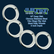 "3 Inch Deep / 15"" Chrome Stainless Steel 15x8 Wheel Trim Beauty Rings SET/4 NEW"