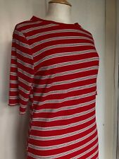 New Look Size 16 Red White Striped Body Con Short Sleeve Ruffle Nautical Dress