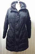 Gorski Nero Apres Ski Jacket Sz XL Hooded Black With Dyed Nappa Leather Trim