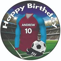 """Personalised Football Shirt 8"""" Round Icing Cake Topper Aston Villa Colours"""