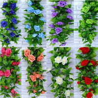 1×Artificial Fake Silk Rose Flower Ivy Vine Hanging Garland Wedding Home-Decor~.