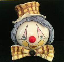 Vintage ZamPiva Italy Porcelain Clown Head Blue Spaghetti Hair Larger Figurine