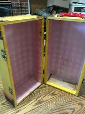 """Vintage Doll Case brown gold/yellow 14"""" High doll carrying case handle"""