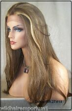 USA Brown Blonde Mix 8.27.613 Lace Front Wig Heat Ok Iron Safe Straight Long Dah