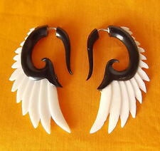 Black and White Wing Split Gauge Earrings Fake Plug Faux Expander Gothic Jewelry