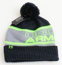 Under Armour Gray & Green Knit Cuff Pom Pom Beanie Men's One Size NWT