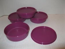 TUPPERWARE ~ SET OF 4 LITTLE WONDERS BOWLS snack containers ~ 6 OZ PURPLE ~ NEW