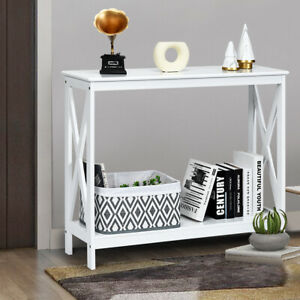 Vintage Console Table  X-design Wooden Hall Desk Side End Table W/ Shelf White