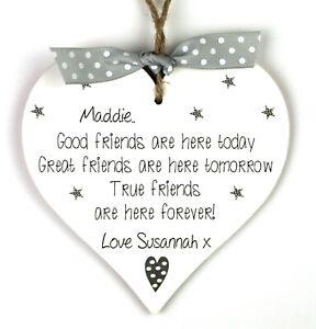 Best friend Gift Good Friends Personalised Handmade Heart plaque Friendship Sign