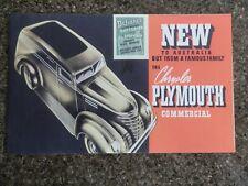 1939 CHRYSLER PLYMOUTH COMMERCIALS SALES  BROCHURE  ''RHD AUSTRALIAN VERSION''