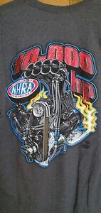 NHRA Top Fuel Funny Car Supercharged 500 CID Engine Drag Racing Shirt XL Dk Gray