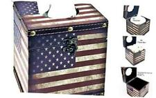 28298 American Flag Square Tissue Box Cover Vintage Patriotic Napkin Holder Pap