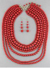 SEVEN LAYERS RED LUCITE BEAD NECKLACE EARRING