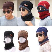 Men Women Winter Warm Crochet Knit Baggy Beanie Wool Skull Hat Ski Cap and Scarf
