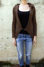 Guru fait à la main Cardigan Top Pull femme marron tricot laine S Small