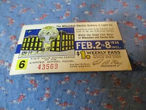 The Milwaukee Electric Railway and Light  Co. Feb 2-8  1936 Weekly Pass