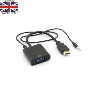 HDMI to VGA AUDIO Adapter Cable Converter for PC Laptop Monitor TV HD 1080p