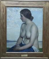 HAROLD KNIGHT BRITISH NEWLYN SCHOOL ART 1916 NUDE FEMALE PORTRAIT OIL PAINTING