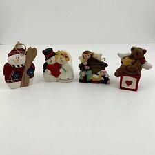 Eddie Walker Ornament Lot- Angel bear, Nativity, Snowman w/skis and bride&groom