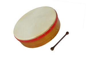 """Muzikkon Irish Bodhran, 18""""x4"""" Fixed head Bodhran Drum, Natural finished"""