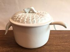 Fish Tureen, Boston Warehouse Trading Corp, 2008, 3 Pieces, White w/Blue Accent