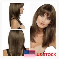 US Women Long Straight Brown Bangs Wig Hair Natural Party Cosplay Hair Full Wigs