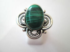925 Silver Overlay Ring With Natural Malachite Cabochon Size Q, US 8 (rg2231)
