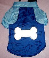 Size Large Blue Navy Nylon Snow Parka Reflective Bone Coat Dog Clothes