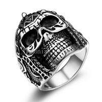 Black Silver Stainless Steel Gothic Skull Helmet Biker Men's Ring Size 8 -12