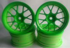 Rc Car 1/10 Drift Y Spoke Rims Wheels 3mm Offset fits Tamiya HPI Green 12mm hex