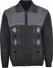 Mens Knitted Cardigan Classic Style Zipper WITH COLLAR