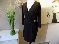 Melrose Wickelkleid schwarz Gr. 44 46 48 50 Kleid tolle Passform NEU (27f)