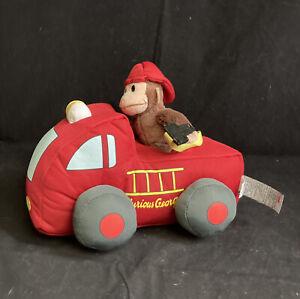 GUND Classic Curious George Monkey Fire Truck Press Siren Sounds Lights Flash