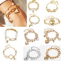 Fashion Women Boho Gold Pearl Geometrical Bracelets Bangle Cuff Chain Jewelry