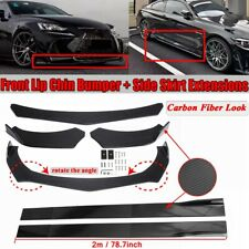 Carbon Fiber Look Universal Car Front Bumper Lip Splitter +78.7'' Side Skirts