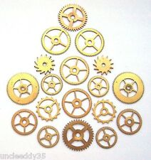 Lot 9 pairs vintage clock brass small gears wheels 13-21 mm Steampunk parts #1