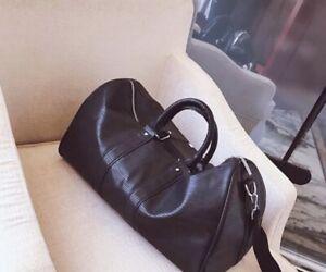 Men Modern Luxury Black Duffle/Travel Bag Faux Leather *New*