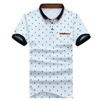 Men Polo Shirt Camisa Cotton Dark Blue White Printed Polka Dots Short Sleeve Top