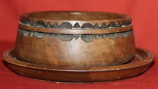 Vintage Hand Carving Wood Decorative Wall Hanging Bowl And Tray